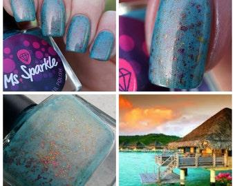 Opnieuw voorraad: Bora Bora ~ Blurple collectie Indie Nail Polish Aqua blauwe Ultra Chrome Chameleon Flakies 10 ML