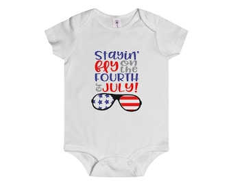 Fourth Of July Baby Bodysuit Stayin Fly On The Fourth Of July Baby Outfit Infant Rip Snap Tee Patriotic Baby Outfit