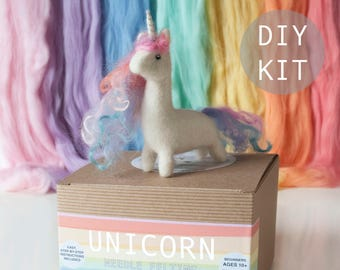 Baby unicorn beginners needle felting kit with extra supplies, British wool, step by step instructions included.