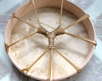 """Manifestation Drum, Red Stag Deer or Horse Rawhide w Maple Hoop, 10"""" or 12"""" with suede wrap, Beater, Ritual Shaman Drum Celtic Pagan Heathen"""