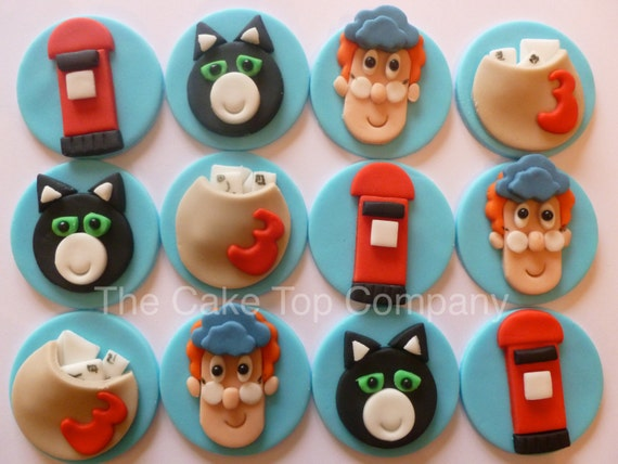 bdc0bc201770 Postman Pat Cupcake Toppers and Jess the Cat Fondant decorations