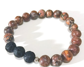Lava Bead Essential Oil Aromatherapy Diffuser Stretchy Bracelet