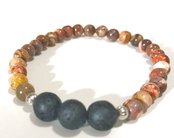 Lava Bead Diffuser Bracelet with Natural Jasper Gemstone Beads, ARomatherapy, Essential oil Diffuser