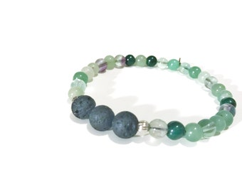 Oil Diffuser Jewelry Lava Bead and Natural Gemstone Stretch Bracelet