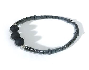 Hematite and Lava Bead Stretch Bracelet, Essential Oil Diffuser Jewelry, Aromatherapy Jewelry