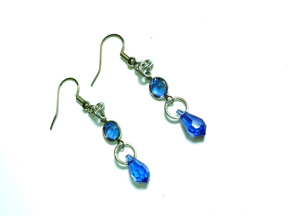 bb4e8adfc867 Sapphire Crystal Earrings Teardrop SWAROVSKI Crystal Earrings