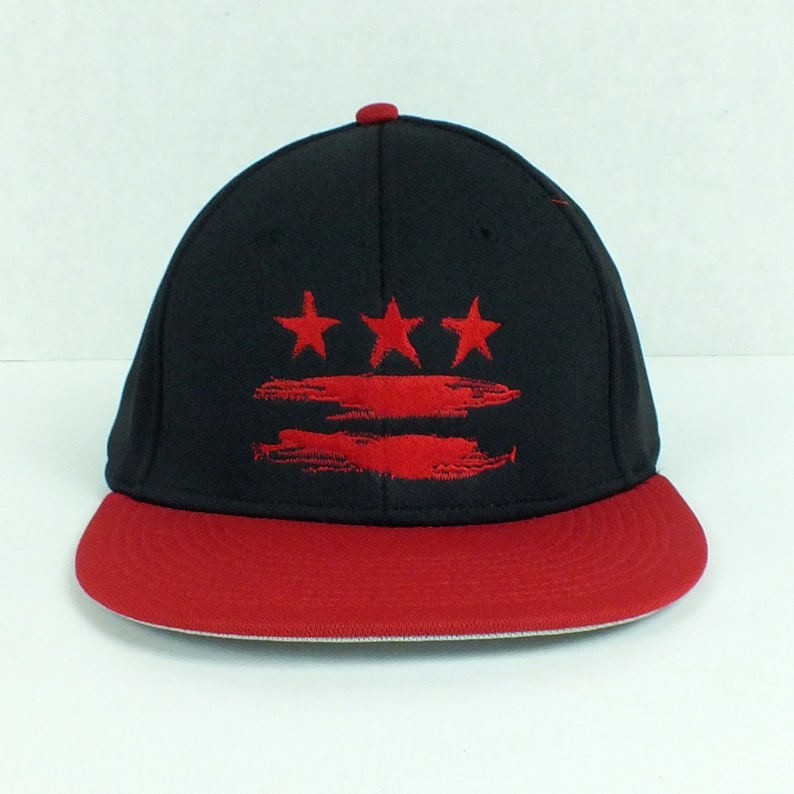 4a515954 Washington DC Flag Red and Black Fitted Hat   Etsy