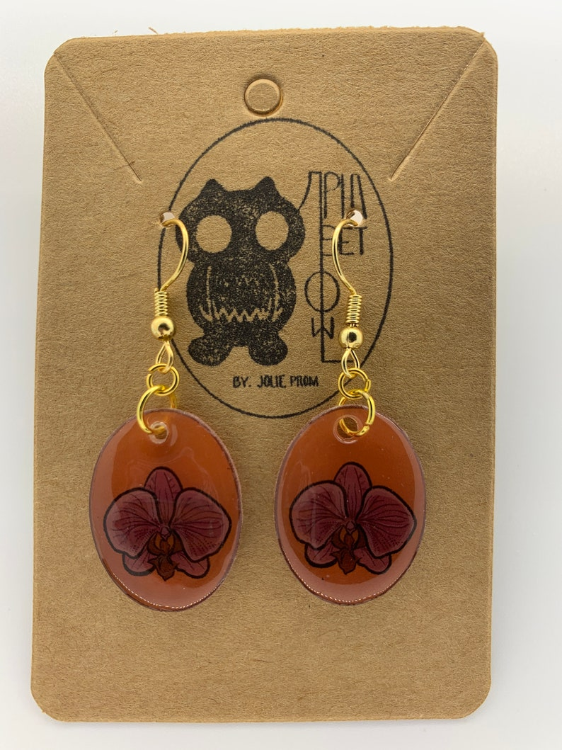 Orchid Flower Design Earrings Plastic Resin Handmade Fish Hook Dangle