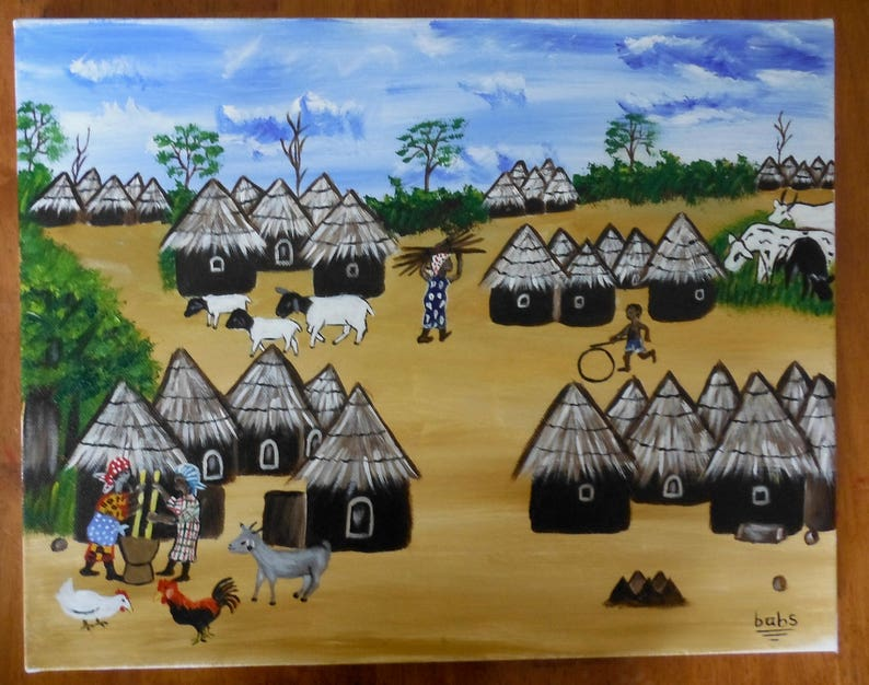 West African Village Scene Acrylic Painting On Canvas Etsy
