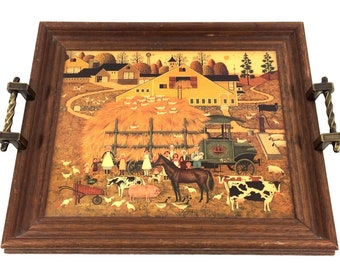 """1970s Tray with Handles, Charles Wysocki """"Home on the Farm"""" Print, Large 15"""" Country Farmhouse Folk Art Decorative Tray for Coffee Table"""