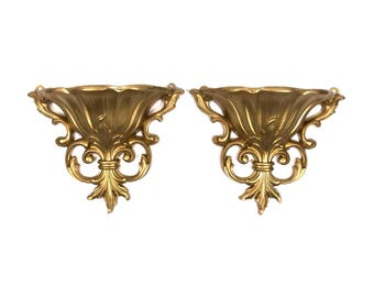 Wall Sconce Set with Hollywood Regency Styling and Gold Finish by Dart Wall Sconces Pair of Vintage Wall Pockets Wall Planter  sc 1 st  Etsy & Gold wall sconce   Etsy