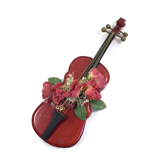 Red Violin Wall Art Sculpture with Flower Accent 14