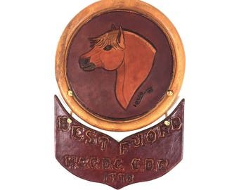 "Horse Wall Art Plaque ""Best Fjord"" Trophy Award, Vintage Leather and Wood Folk Art Wall Hanging"