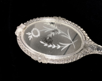 """Vintage Clear Hand Mirror with Brush on Reverse Side and Etched Leaf Design, 10"""" Tall"""