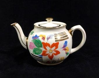 Vintage Ceramic Teapot with Flower Design & Gold Trim by Sadler, English Teapot