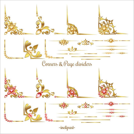 Instant download PNG diamond Business use Set of 30 various decorative elements in gold Gold Corner Page Divider Clipart ruby clipart