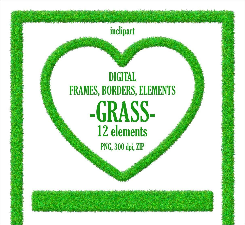 Gras-Rahmen, Rahmen Clipart. Grasgrün-Element-Clip-Art. Oval, Herz ...