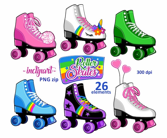 roller skates clipart party clipart colorful roller skate rh etsy com roller skating clipart free girl roller skating clipart