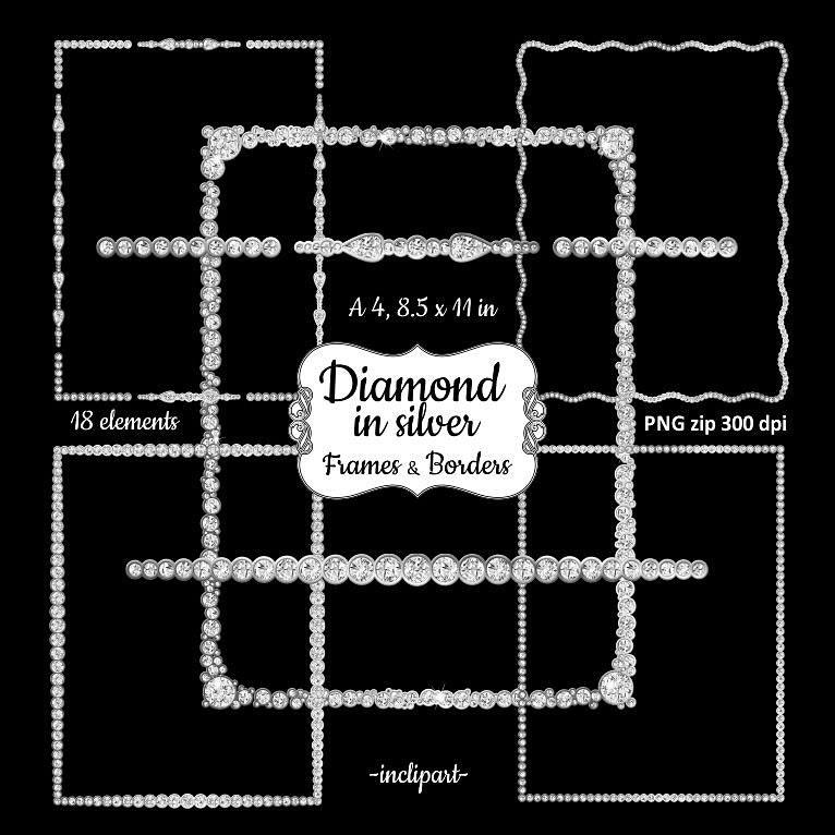 Rahmen Clipart Diamant Silber. Strass-Rahmen Rahmen Clipart. | Etsy
