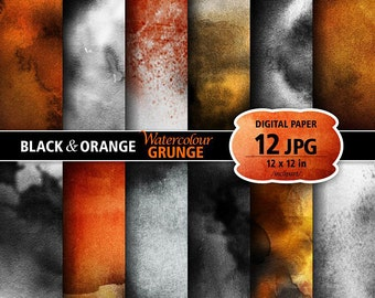 Grunge Watercolour Digital Paper Clip Art. Set of 12 JPG Black orange watercolor backgrounds digital papers. Printable. Instant download.
