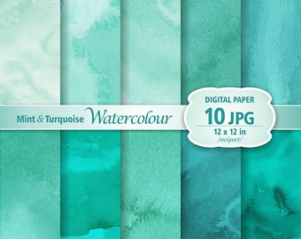 Mint & Turquoise Watercolour Digital Paper Clip Art. Set of 10 JPG watercolor backgrounds / digital papers. Printable. Instant download.