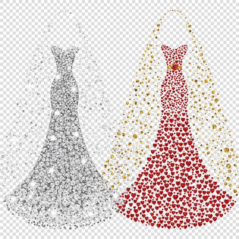 Wedding Gown Clip Art: Wedding Dress Clipart. Bridal Gown Clipart. Prom Dress