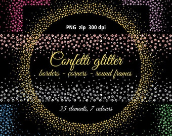 Confetti glitter borders, corners, round frames clipart. Seamless. 7 colors (gold, silver, rose)  Instant download. PNG format. Business use