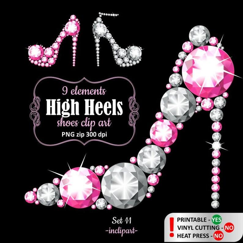 d4e61e083518 High heel shoes clipart. Light Pink and white diamond