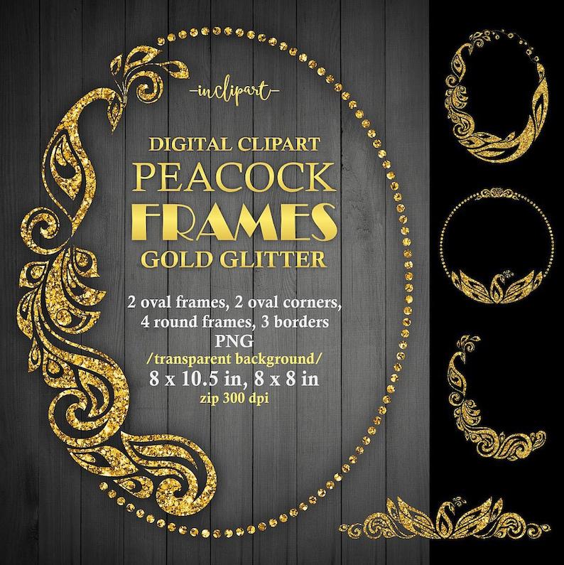 fa049c713ae5 Peacock frame clipart. Digital Gold glitter oval round
