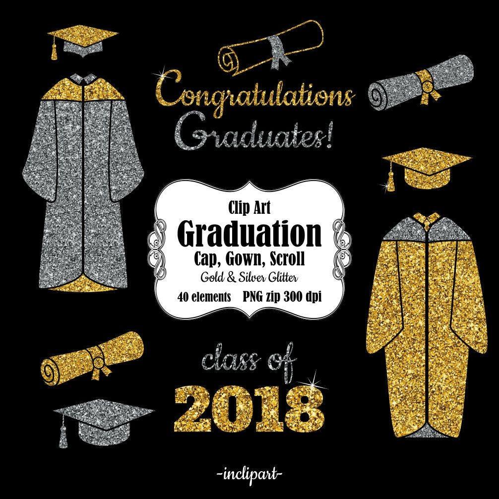 Graduation clip art. Cap gown scroll year clipart. | Etsy