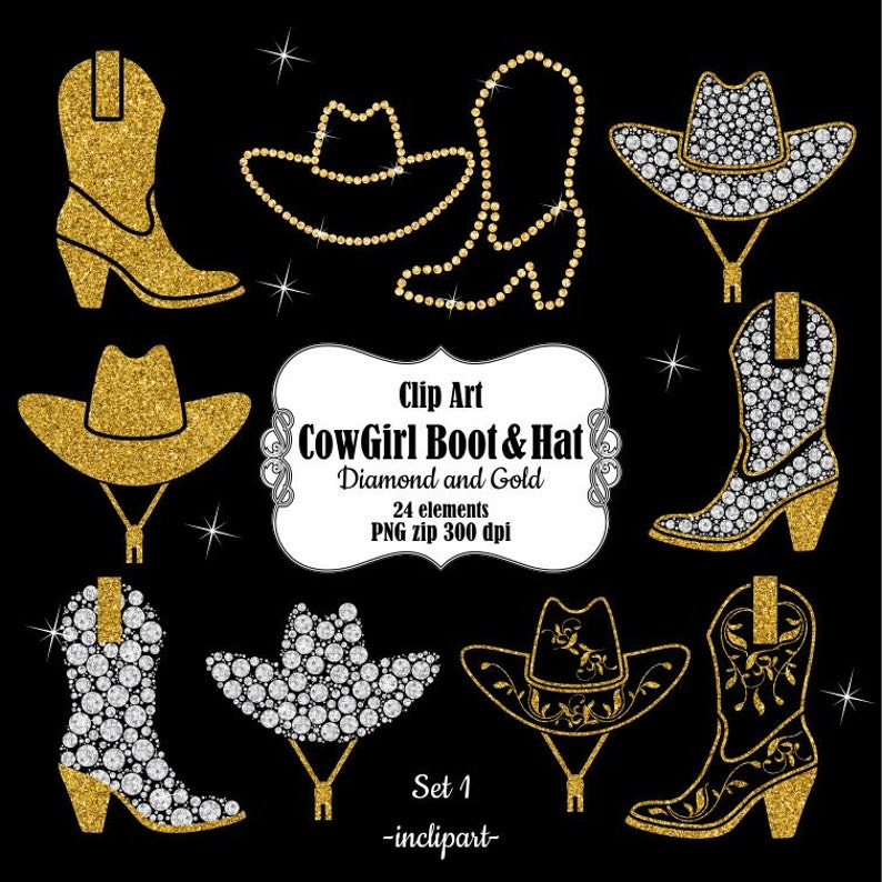 fed2ecf2e7927 CowGirl Boot clipart. CowBoy Hat clipart. Digital Diamond