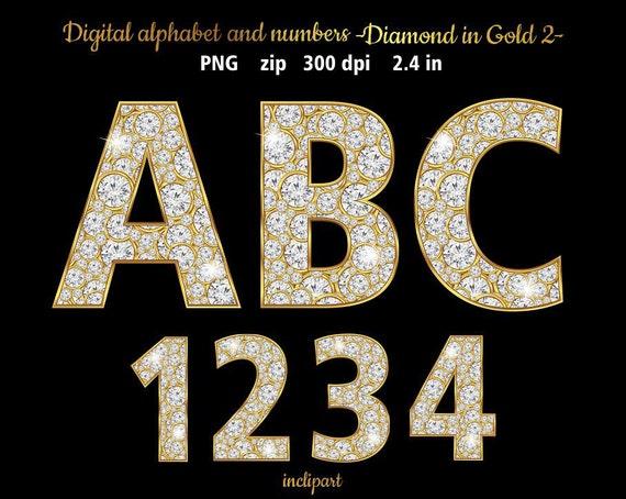 Diamond Numbers Letters Symbols Clipart Digital Alphabet Etsy
