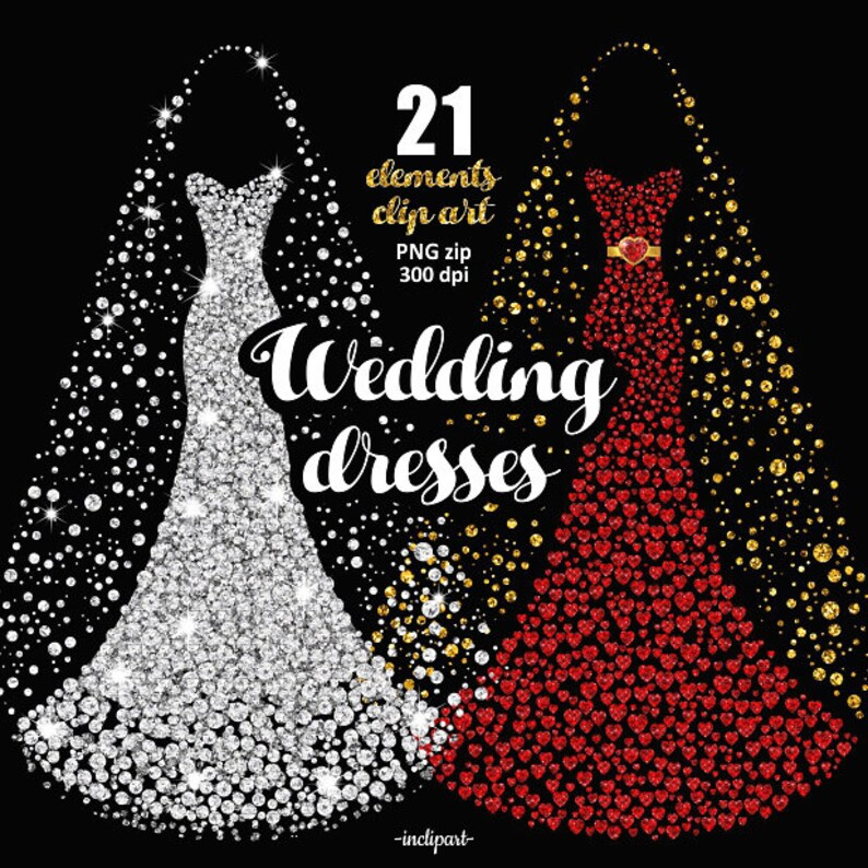 Wedding Gown Clip Art: Wedding Dress Clipart. Bridal Gown Clipart. Prom Dress