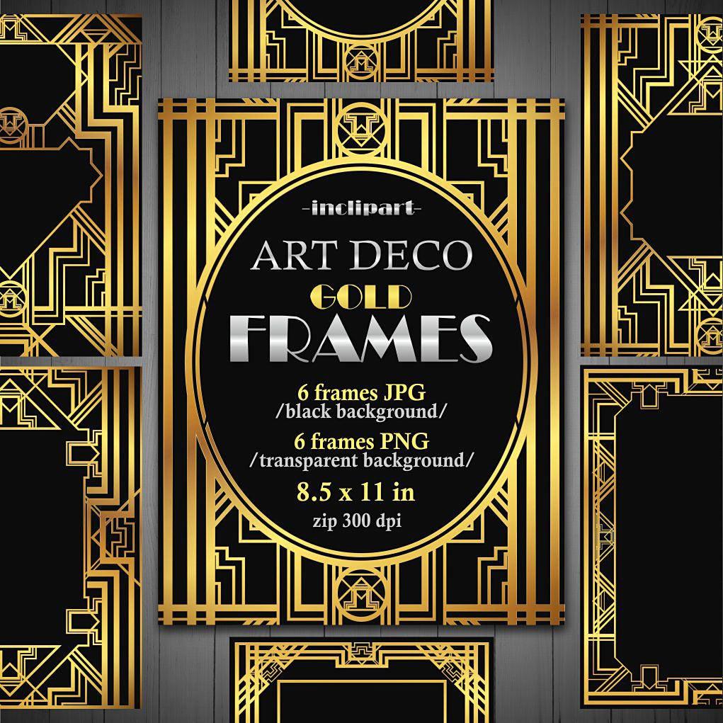 Rahmen Art-Deco-Clipart. Set von 6 digitalen metallic