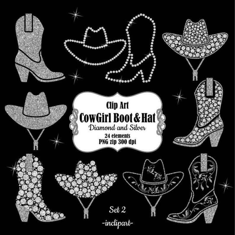 Clipart di cappello da CowBoy. CowGirl Boot clipart. Digital  0a0fdd2dedd6