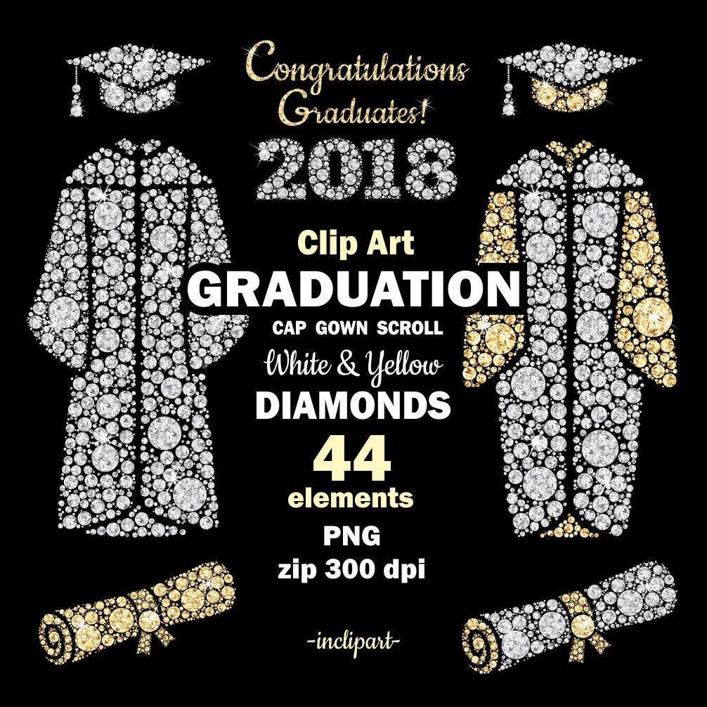 Graduation diamond clip art. Cap gown scroll year clipart. | Etsy