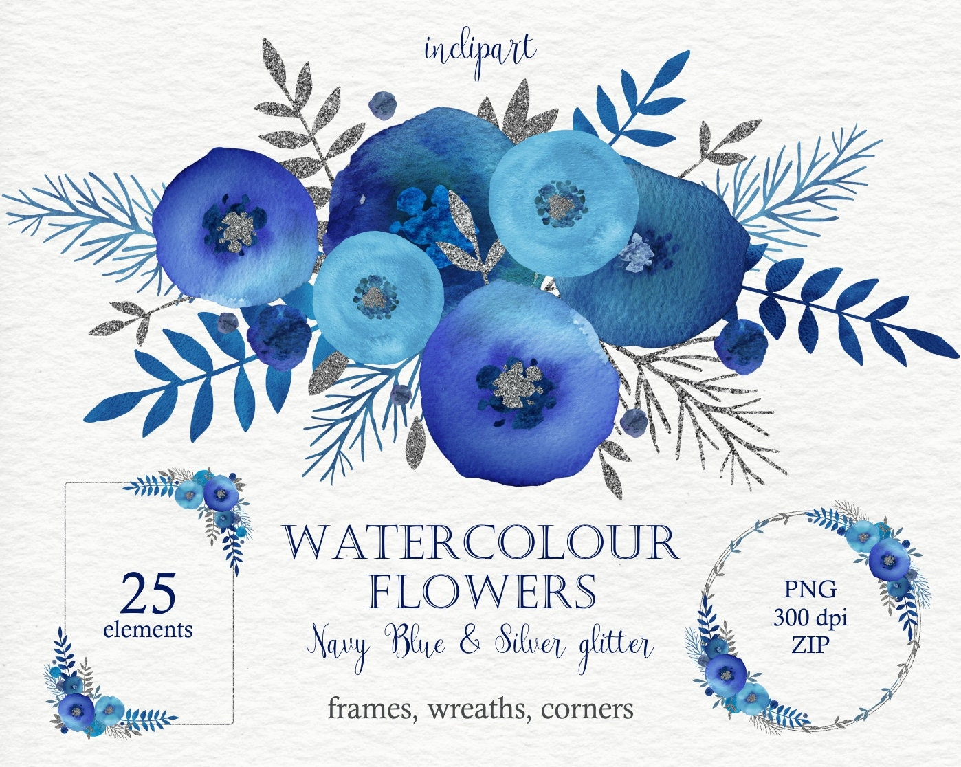 Watercolor Navy Blue Flowers clipart. Floral wreaths ...