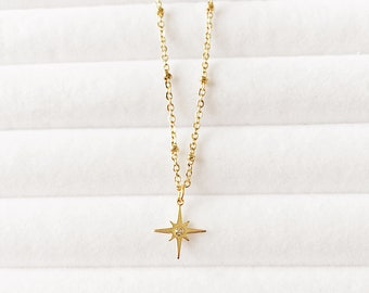 Gold Rhinestone North Star Necklace   Star Layered Necklace   Dainty Minimalist Simple Satellite Necklace   Boho Necklace   Gift Idea
