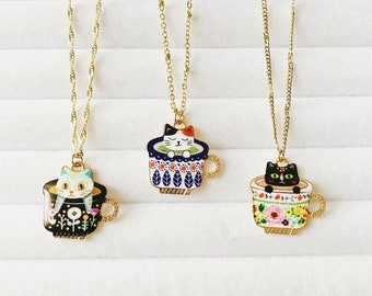 Gold Enamel Cat in a Teacup Layering Necklace   Colourful Jewelry   Bohemian   Minimalistic   90s