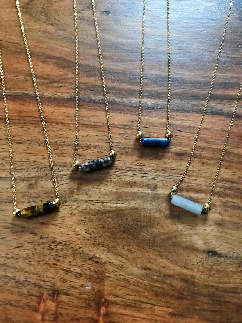 Labradorite Bohemian Gemstone Bead Necklace Rondelle Gemstone Stainless Steel Hypoallergenic Necklace Gift Idea Lapis Lazuli