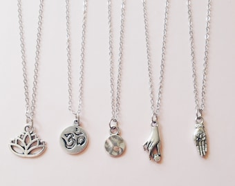 Boho Layering Dainty Necklace   Simple Necklace   Everyday Jewelry   Lotus Flower   Mandala Necklace   Boho Jewellery   Minimalist