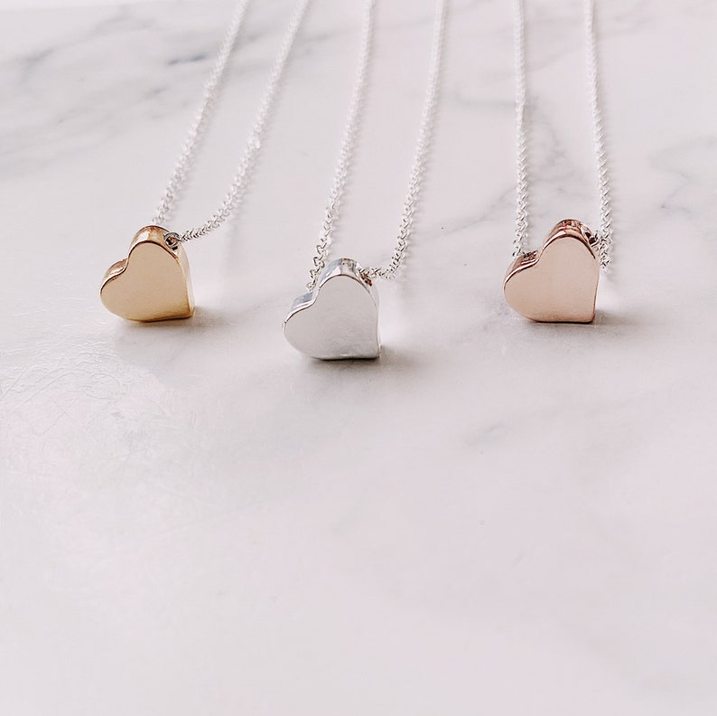 Dainty Heart Necklace  Love Heart Layering Necklace  image 1