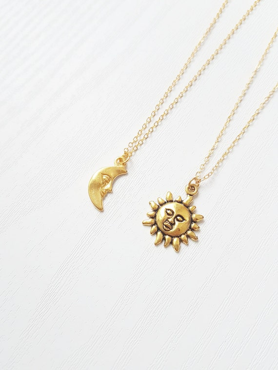 Galaxy Necklaces Crescent Moon Gold Sun Jewelry Moon Of Etsy