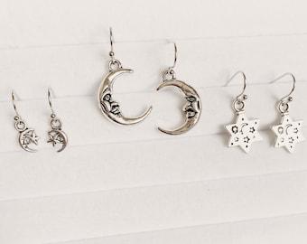 Silver Celestial Crescent Moon and Star Earrings | Minimal Earrings | Yoga Jewellery | Bohemian Earrings | Gift Idea