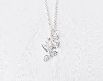 Silver   Gold Rose Necklace   Flower Detail   Valentines Jewelry   Silver Tone   Minimalist Necklace   Valentines Day Gift   Girlfriend Gift