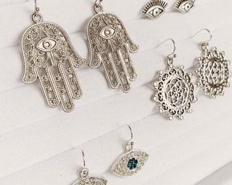 Silver Hamsa Palm, Evil Eye Earrings | Minimal Earrings | Yoga Jewellery | Bohemian Earrings | Gift Idea