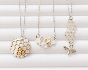 Two Tone Honeycomb Bee Necklace   Behive   Hexagon   Boho Necklace