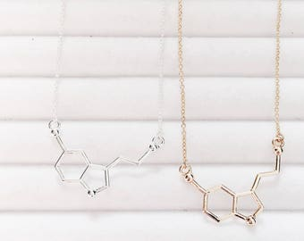 Serotonin Chemical Structure Necklace | DNA | Neurotransmitter |  Silver Tone | Science | Cool
