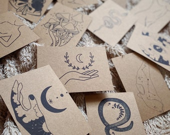 10 x Lucky Dip A6 Kraft Card Prints | Large Mystery Goody Bag | Grab Bag | Gift Idea For Her | Mixed Art Prints | Witchy Boho Celestial