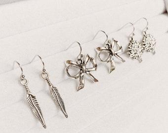 Silver Feather, Bow Ribbon, Tree of Life Earrings | Minimal Earrings | Yoga Jewellery | Bohemian Earrings | Gift Idea